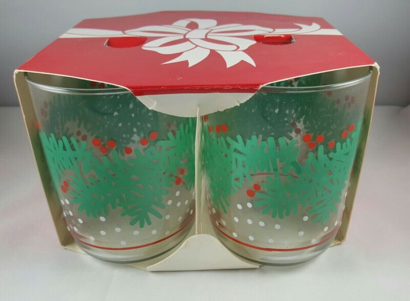 """Vintage Libbey Cocktail Christmas Glasses Set of 4 Holly Evergreen Snow 4"""" NOS"""