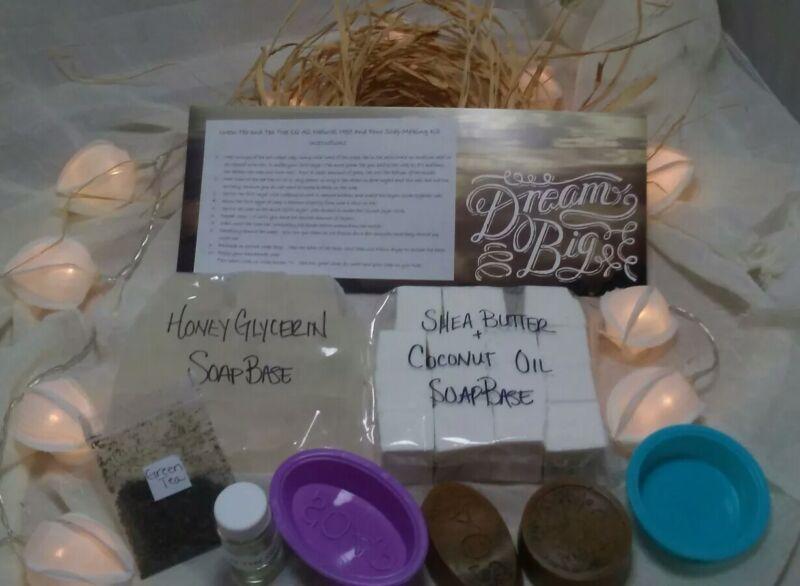 SALE Soap Making Kit Green Tea, Tea Tree Oil Melt & Pour Set Organic Natural DIY