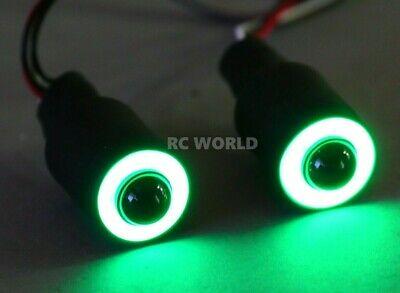 RC LED Lights HALO Rings Angel Eye Lights Big 17mm GREEN Halos w/ WHITE Center