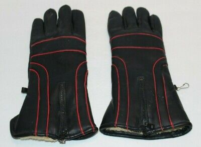 Hatch Accessories Black & Red Faux Leather Winter Skiing Gloves Sz XL Ship FREE  Hatch Black Winter Glove