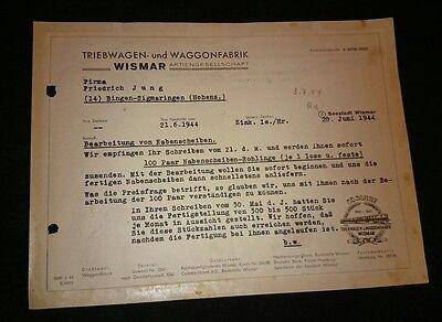 Original Brief Schreiben A09 Triebwagen Waggonfabrik Eisenbahn Wismar TWE 1944