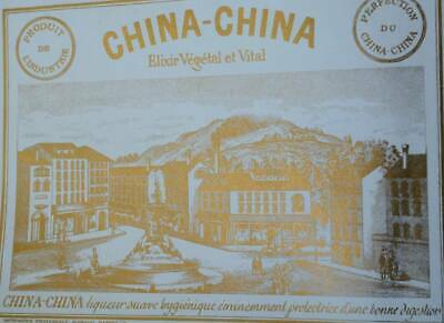 CHINA CHINA FRENCH ELIXIR 1930-1960 Liquor Unused Vintage Old Alcohol Label Gold