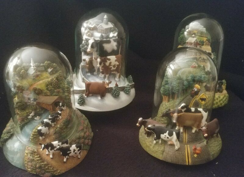 Franklin Mint Numbered Collectible Cow Dome Sculptures Set of 4 Lowell Herrero