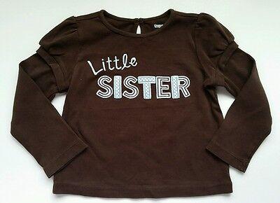 Gymboree Girls Best Friend Size 3T Shirt Little Sister Brown Blue Long
