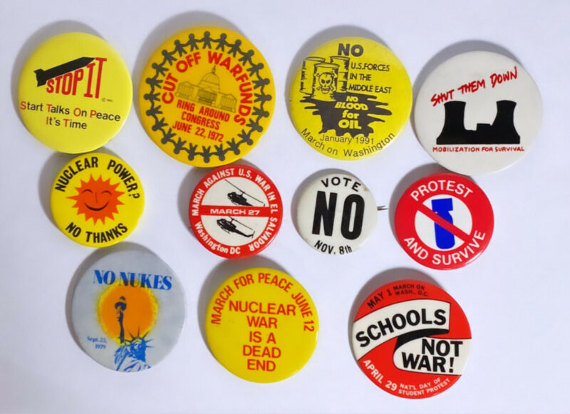 11 (eleven) AUTHENTIC VIETNAM ERA - [**ANTI-WAR**] - PIN BACK BUTTON COLLECTION