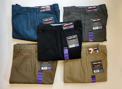 NEW- Men's Kirkland Signature Non-Iron Cotton Classic Fit Flat Front Dress Pant