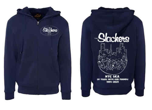 The SLACKERS 30th anniversary NYC SKA  2-sided ZIP UP HOODIE size M - 2XL