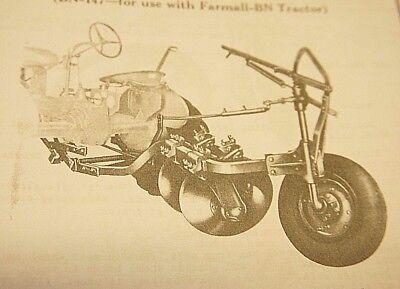 Ih Farmall B Bn B-147 Bn-147 1 Or 2 Disc Turning Plow Operators Parts Manual
