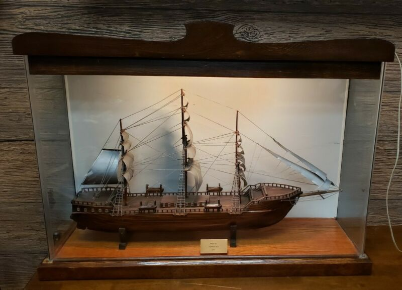 RARE Vintage Antique Decorative Hand Made Wooden SHIP Model Carved In Display