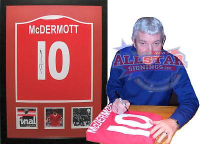 FRAMED TERRY McDERMOTT SIGNED LIVERPOOL 10 FOOTBALL SHIRT PROOF COA & PROOF