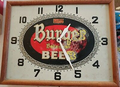 1950'S CINCINNATI OHIO BURGER BEER ADVERTISING WALL CLOCK WORKS Tin Face