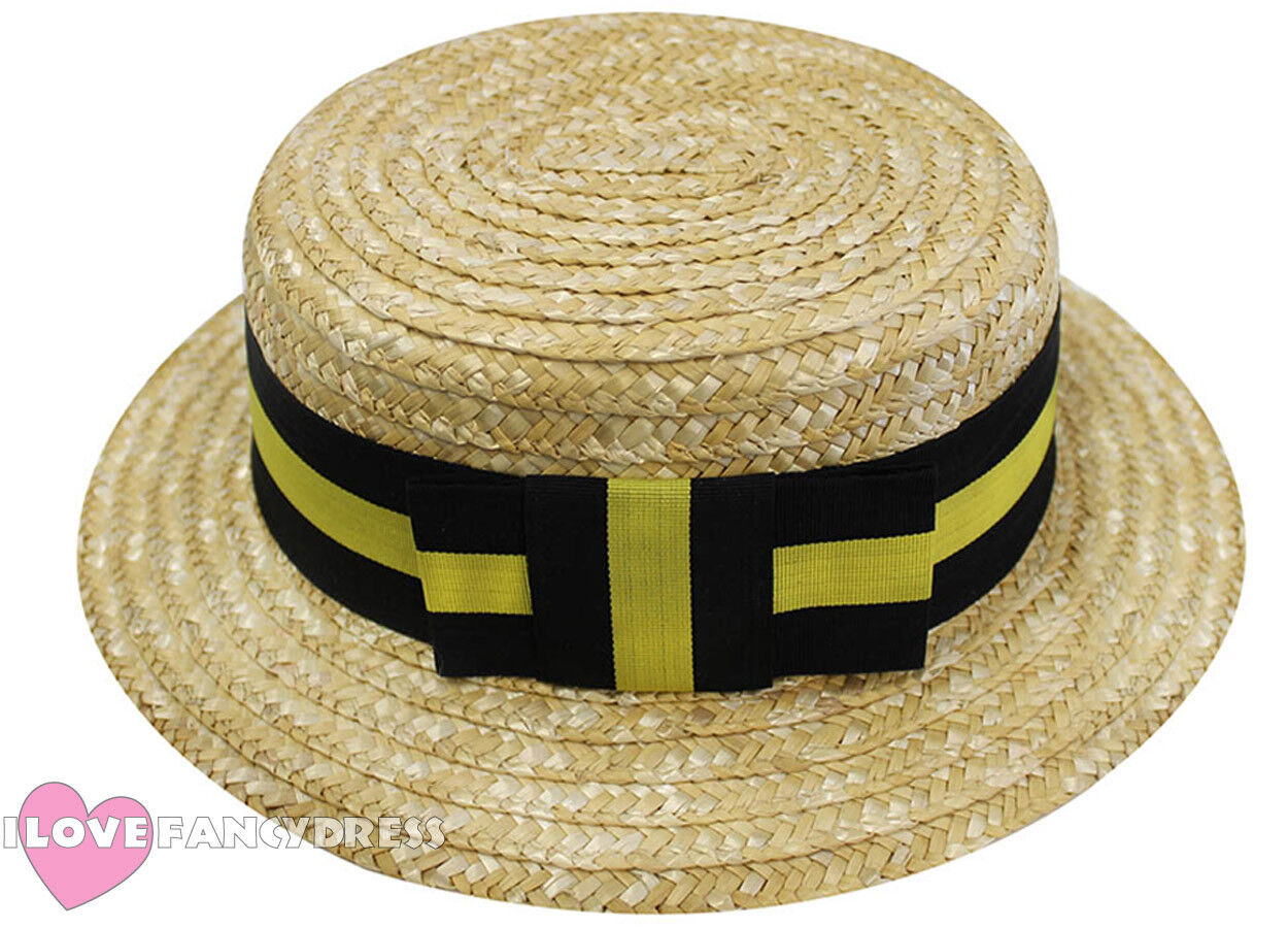 d6f36d0947f Deluxe straw boater hat black yellow band fancy dress victorian barbershop  JPG 1250x900 Victorian boater hat