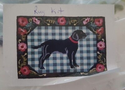 """Vintage Wool Rug Kit """"Black Dog"""" Claire Murray SMALL PORTION DONE Apprx 28""""x38"""""""