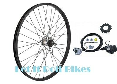 """BLACK BICYCLE REAR WHEEL 26"""" X 1.75 SHIMANO INTERNAL 3-SPEED CABLE SHIFTER"""