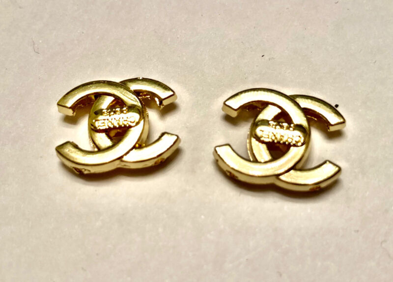 Chanel Gold Button SET OF 2 Stamped 16mm. Lightweight 4-hole