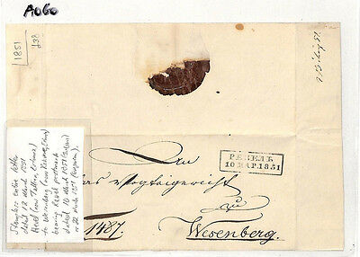 AO60 1851 RUSSIA Estonia Reval Tallinn to Wasenberg Entire Letter.