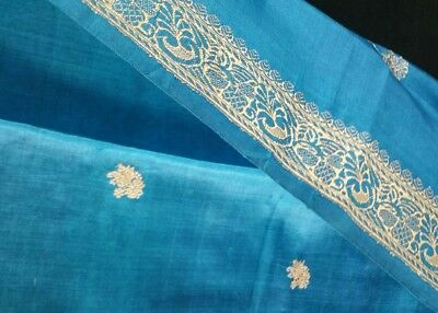 Vintage Turquoise Thai Silk Scarf Gold Metallic Thread Pattn & Fringe 22