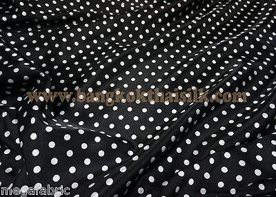 Polka Dot Black White Matt Satin 60