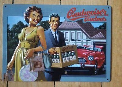 Budweiser Budvar Blechschild Zeitreise Nostalgie Retro 21x29,5 Tin Sign