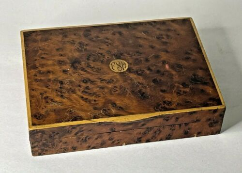 Antique Burl Inlaid Wood Trinket Playing Card Box with Monogram made in Italy