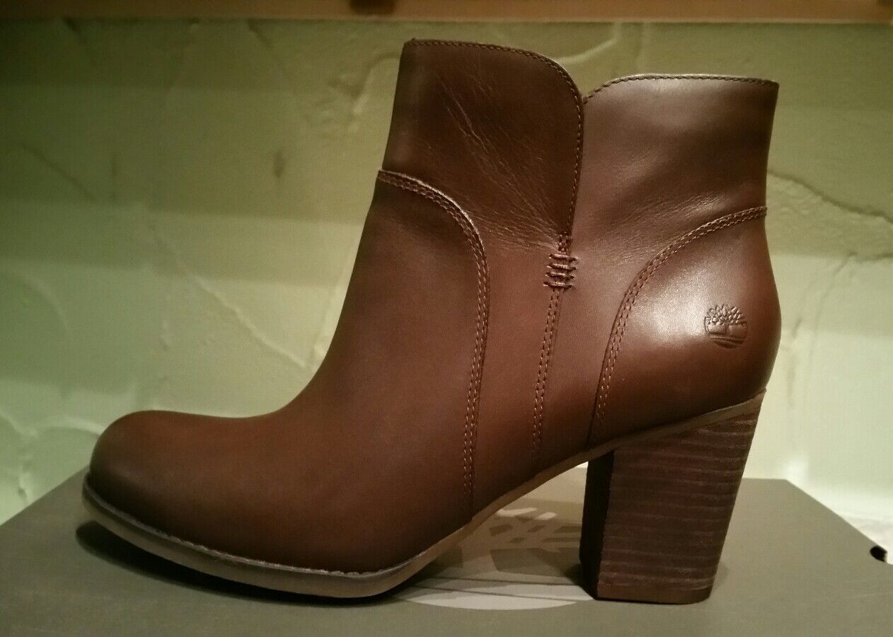 TIMBERLAND WOMEN'S RUDSTON ANKLE FULL GRAIN LEATHER  DARK BROWN BOOTS SIZE 7.5