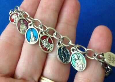 Solid 925 Sterling Silver Enameled Miraculous Medal Pendant Pin 28mm x 18mm
