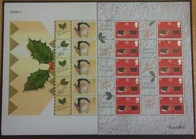 Half sheet of 2000 Christmas Generic smilers SG LS2 & LS3 (pillar box & cracker) 2000 Half Sheet