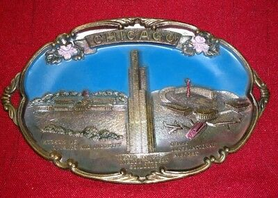 Vtg Chicago Copper Souvenir Oval Plate  Sears Tower  Ohare  Science   Industry