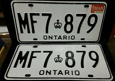 Super clean and nice set of Ontario wh/Black license plates, MF7-879 VIN/EXP