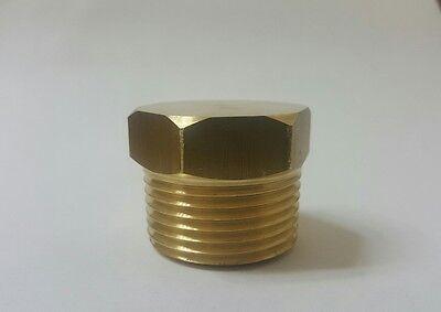 1 Male Npt Brass Plug. Hex Head Made In Usa