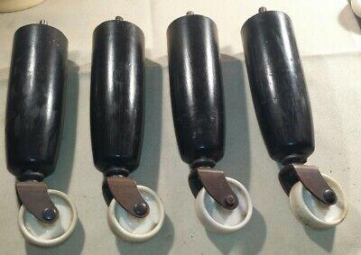 4 xVintage retro Wooden screw in Bed trolley Legs.copper+white Bakelite Castors.