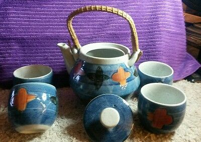 SALE! VINTAGE Ceramic Japanese Teapot Set 1970's BLUE ASIAN MARITIME