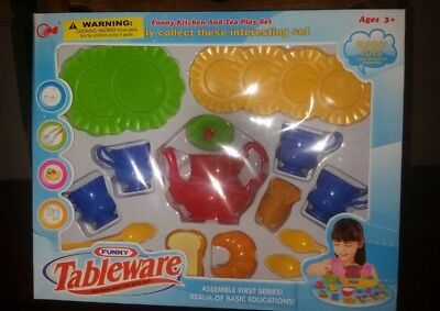 Childs Tableware Set Toys (NEW Funny tableware Childrens kitchen play set and tea playset toy playset New  )