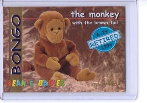 Ty-S1-BLUE-Retired-Bongo-The-Monkey-Beanie-Card-INSERT-ONLY-RARE-4067