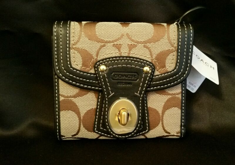 COACH Signature Turnlock LEGACY French Purse Wallet Black Khaki NWT