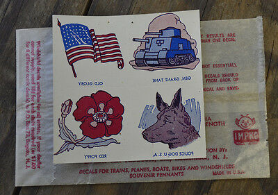 ORIGINAL VINTAGE IMPKO WATER DECAL POLICE DOG TANK US FLAG POPPY BIKE HOT ROD