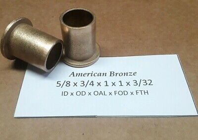 Qty 2pc 58x 34x 1 Bronze Flanged Bushing American Bronze - Made In Us