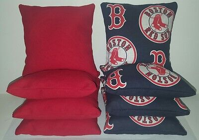 Set Of 8 All Weather Boston Red Sox Cornhole Bean Bags    Free Shipping