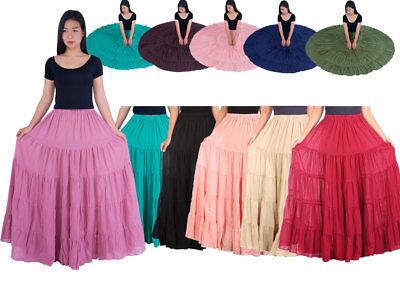 (Women's Cotton Long Ruffle Full Circle Long Maxi Skirts Skirt Gypsy Hippie Thai)