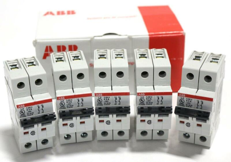 Lot of 5 ABB S 202U-K5 Moulded Case Circuit Breakers - New