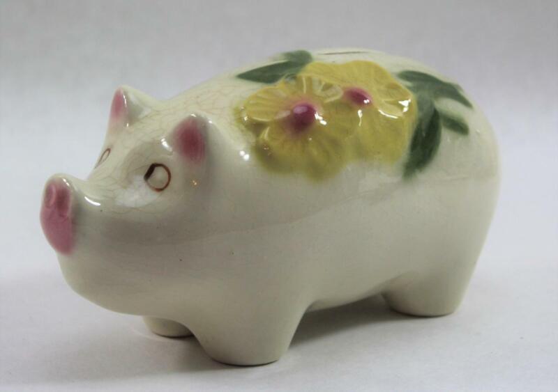 Vintage Ceramic Break Away Piggy Bank with Yellow Flowers