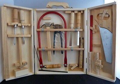 Kinder Werkzeugkoffer - 17 tlg. Werkzeugkasten aus Holz mit Säge, Zange, Hammer