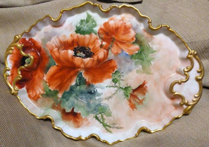 Vintage Vanity Dresser Tray Floral Hand Painted Poppies Poppy Flowers Porcelain