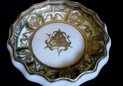Antique NIPPON NORITAKE  HAND PAINTED BOWL Gold Beaded MORIAGE Floral Motif
