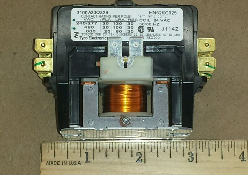 Tyco Electronic HN52KC025 Relay 3100-A20Q328 24VAC Coil 56/60Hz 2 Pole Contactor