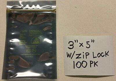 "100 pk Anti-Static Shielding ESD Bags 3"" x 5"" Zip-Top Zip Lock 3X5 USA MADE !!"