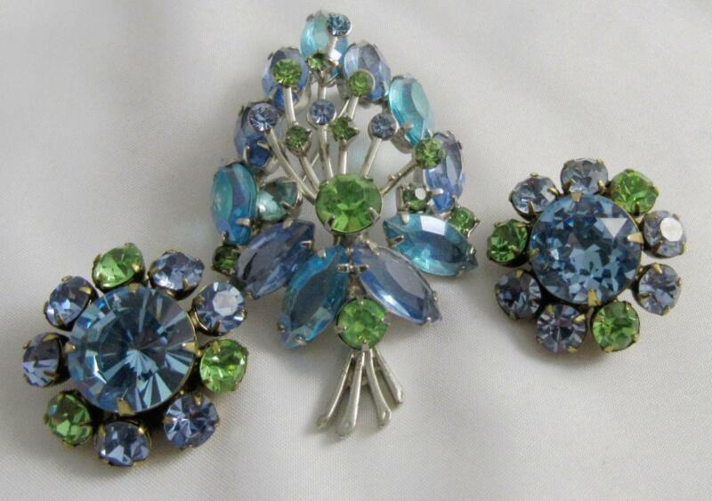 Striking Vintage Blue & Green Rhinestone Floral Pin & Earring Set