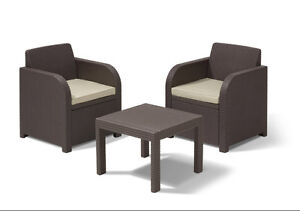 Allibert Atlanta Rattan Furniture Balcony Bistro Set Table And Chair Garden Set