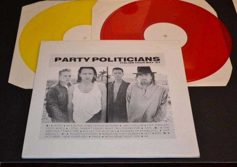 U 2 1987 Party Politicians Live Italian Tour Double LP Color Vinyl Rare