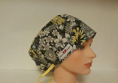 YELLOW  AND GRAY FLOWERS /PIXIE HAT /  SCRUB SURGICAL / MEDICAL / CHEMO